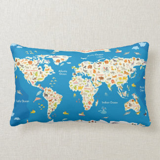 Kids Map of the World With Animals Lumbar Pillow