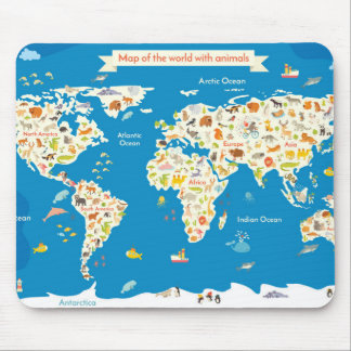 Kids Map of the World With Animals Mouse Pad