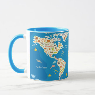 Kids Map of the World With Animals Mug
