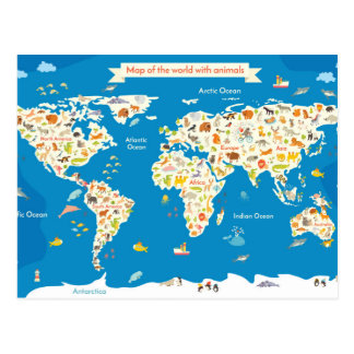 Kids Map of the World With Animals Postcard