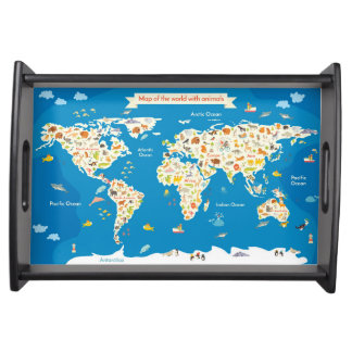 Kids Map of the World With Animals Serving Tray