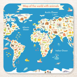 Kids Map of the World With Animals Square Paper Coaster