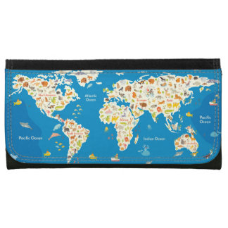 Kids Map of the World With Animals Wallet