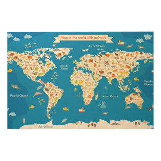 Kids Map of the World With Animals Wood Canvases