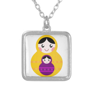 Kids matroshka Duo edition Silver Plated Necklace
