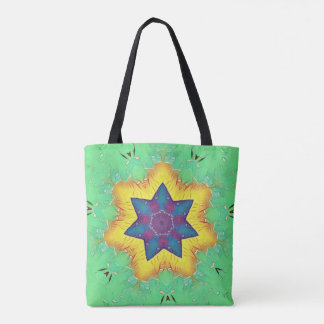 Kids Mint With Yellow Glowing Star Shapes Tote Bag