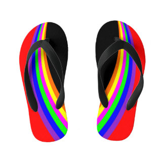 Kids Modern Geometric Rainbow Color Stripe Red Kid's Flip Flops