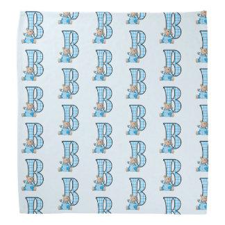Kid's Monogram B for Teddy Bear in Blue Checks Do-rag