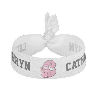 "Kid's Monogrammed ""C"" Pink Cat Hair Tie"