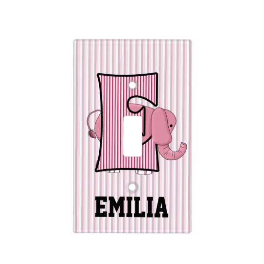 "Kid's Monogrammed ""E"" Pink Elephant Light Switch Cover"