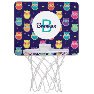 Kids Monogrammed Midnight Owl Pattern Colorful Mini Basketball Hoop