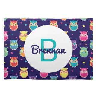 Kids Monogrammed Midnight Owl Pattern Colorful Placemats