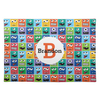 Kids Monster Face Pattern Colorful Monogram Cute Placemat