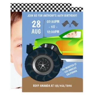 Kids Monster Truck Birthday Party add photo invite