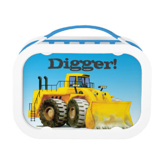Kids Name Giant Yellow Construction Mining Digger Lunchbox