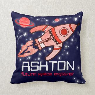 Kids name rocket space explorer navy red pillow