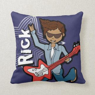 Kids name rockstar guitar boy dark blue pillow
