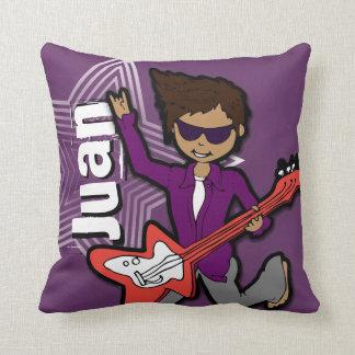 Kids name rockstar guitar boy purple pillow