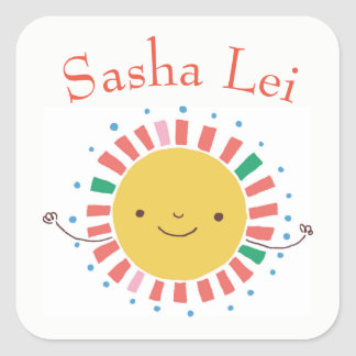 Kids Name Stickers with Smiling Sun