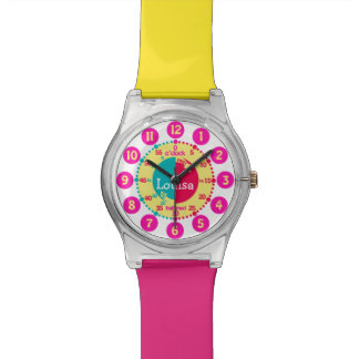 Kids named color coded tell the time watch