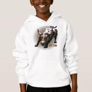 Kid's New York Hoodie Bull Statue Souvenir Shirt