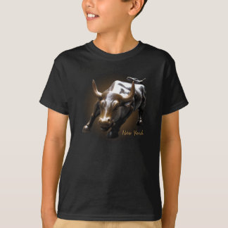 Kid's New York T-shirt Bull Statue Souvenir Shirt