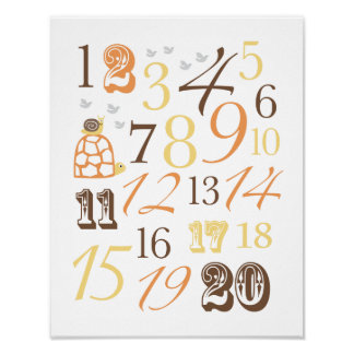 Kids number poster with turtle, snail and birds