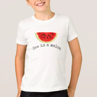 "Kid's ""one in a melon"" summer watermelon shirt"