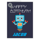 Kids or Boys Personalized Robot Birthday Card