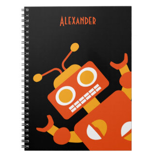 Kids Orange Black Robot Personalized Cool Modern Notebook