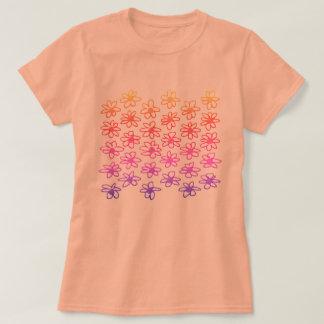 Kids orange t-shirt with Folk flowers