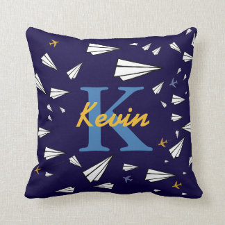 kids paperairplanes personalized throw pillow