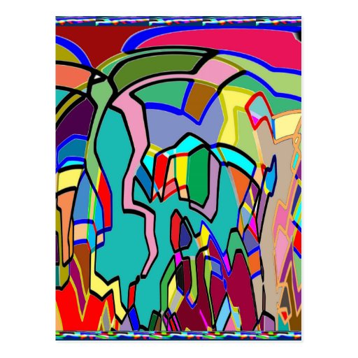 KIDS party giveaway GIFTS Colorful Abstract Art Post Card