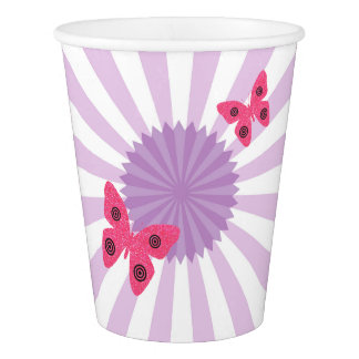 Kids Party Lilac Butterflies Paper Cup