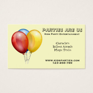 Kids Party planner entertainment freelance Business Card