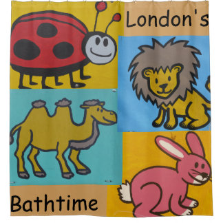 Kids Personalization Cartoon Animal Shower Curtain