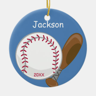 Kids Personalized Baseball and Bat Ceramic Ornament