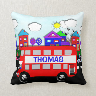 Kids Personalized Big Red Bus Throw Pillow