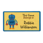 Kids Personalized Blue Robot Toy Sticker Shipping Label