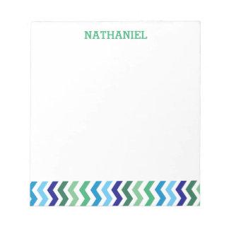 Kids Personalized Chevron Modern Simple Boys Notepad