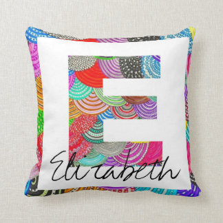 "Kid's Personalized ""E"" Monogram Name Pillow"