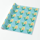 Kids Personalized Faux Foil Blonde Mermaid Girls Wrapping Paper