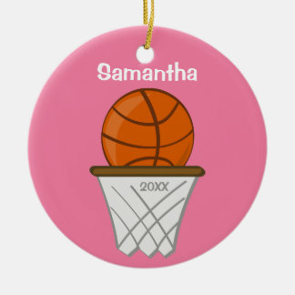 Kids Personalized Girl Basketball Pink Keepsake Round Ceramic Ornament