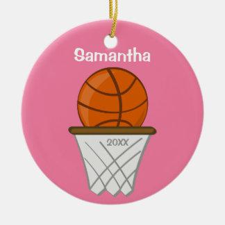 Kids Personalized Girl Basketball Pink Keepsake Round Ceramic Ornament