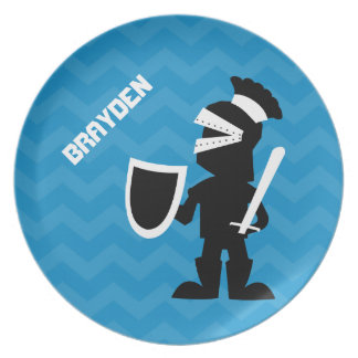 Kids Personalized Knight Blue Chevron Plate