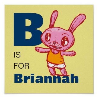 Kid's Personalized Name Bunny Alphabet Poster