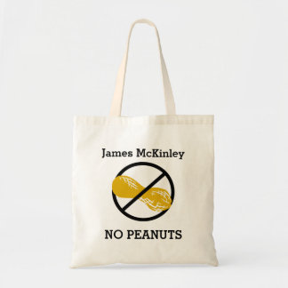 Kids Personalized Peanut Free Allergy Alert Tote Bag