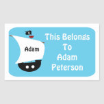 Kids Personalized Pirate Ship Sticker Label