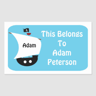 Kids Personalized Pirate Ship Sticker Label