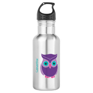 Kids Personalized Purple Teal Cute Owl 532 Ml Water Bottle